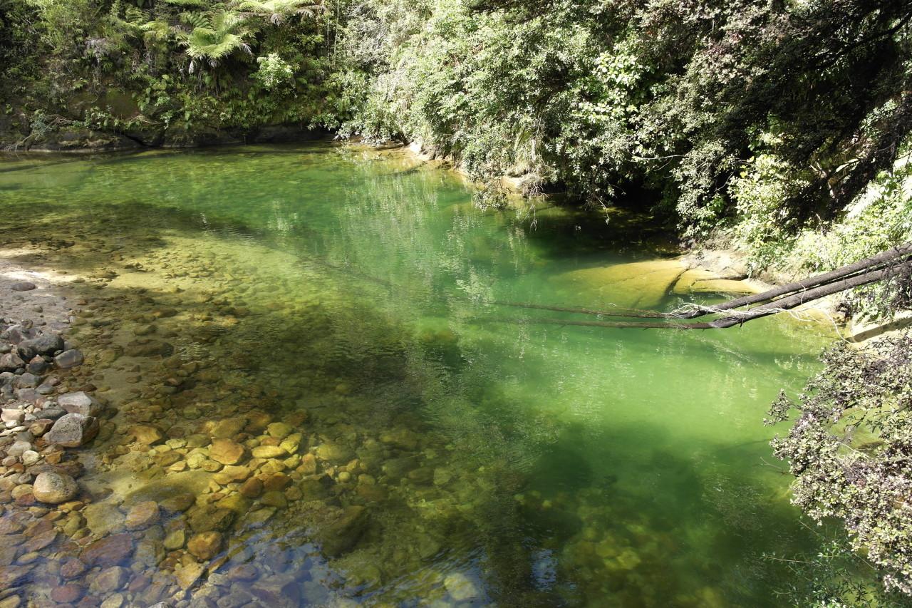 Der Fluss, der den Pool durchfließt.