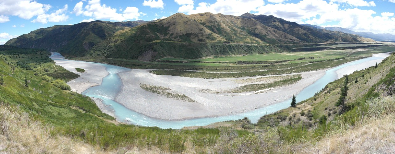 024 To Christchurch Lewis River Turquois Water Valley Pano