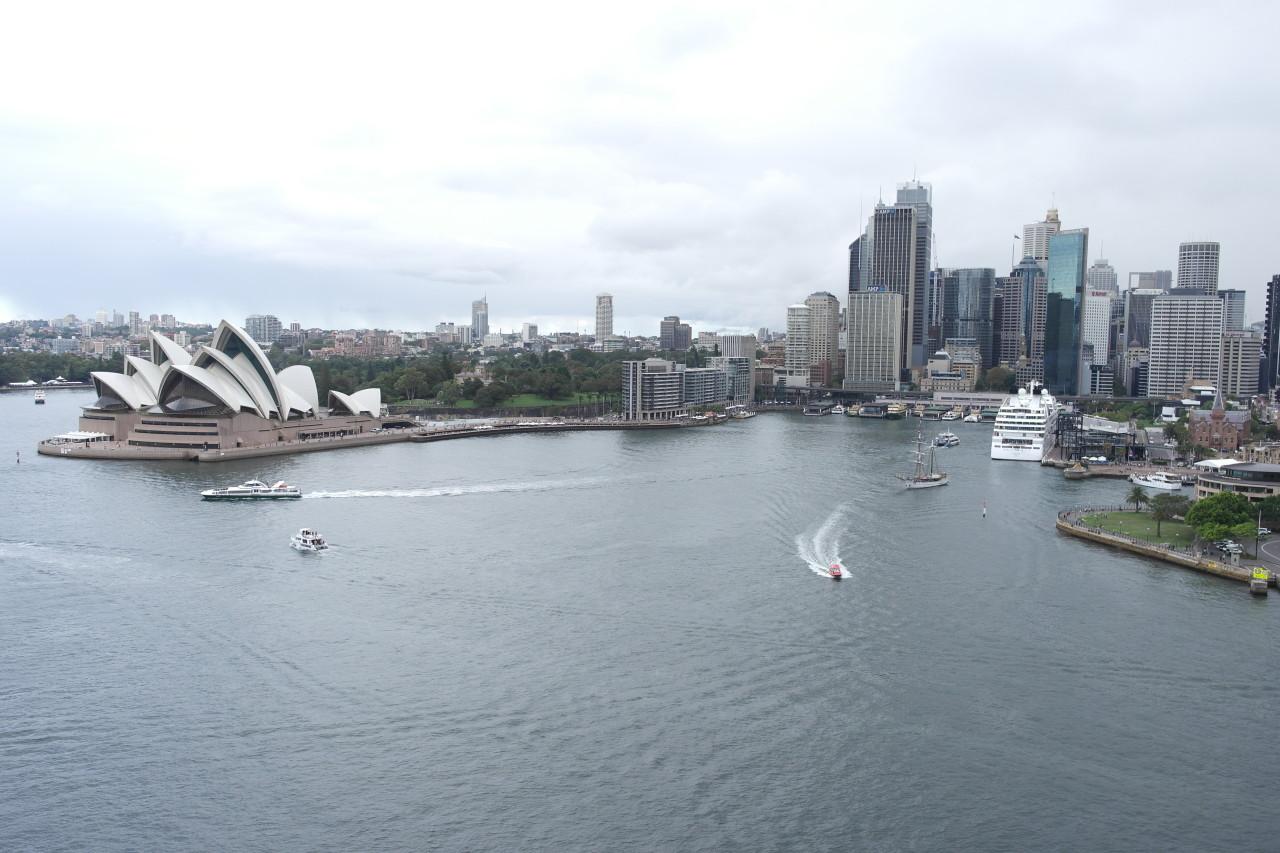 """Das ganze Stadtensemble mit Circular Quay, Skyline, Opera House und Kreuzfahrtschiff. Es lag eigentlich immer eins vor Anker, sogar einmal die """"Queen Elizabeth II""""."""