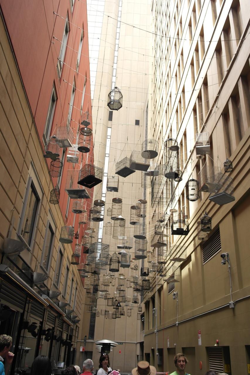 Die Tour führte uns auch in eine Nebenstraße, wo diese Kunstinstallation hängt.
